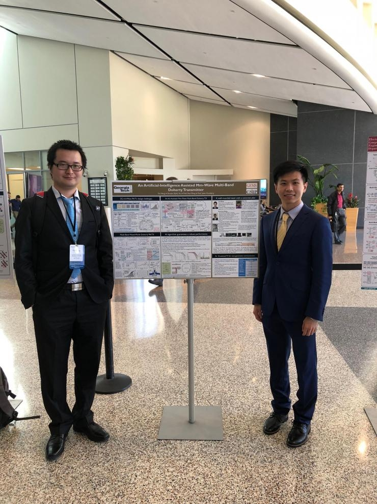 Fei Wang (left) and Shaojie (Kyle) Xu at the Qualcomm Innovation Fellowship Competition.
